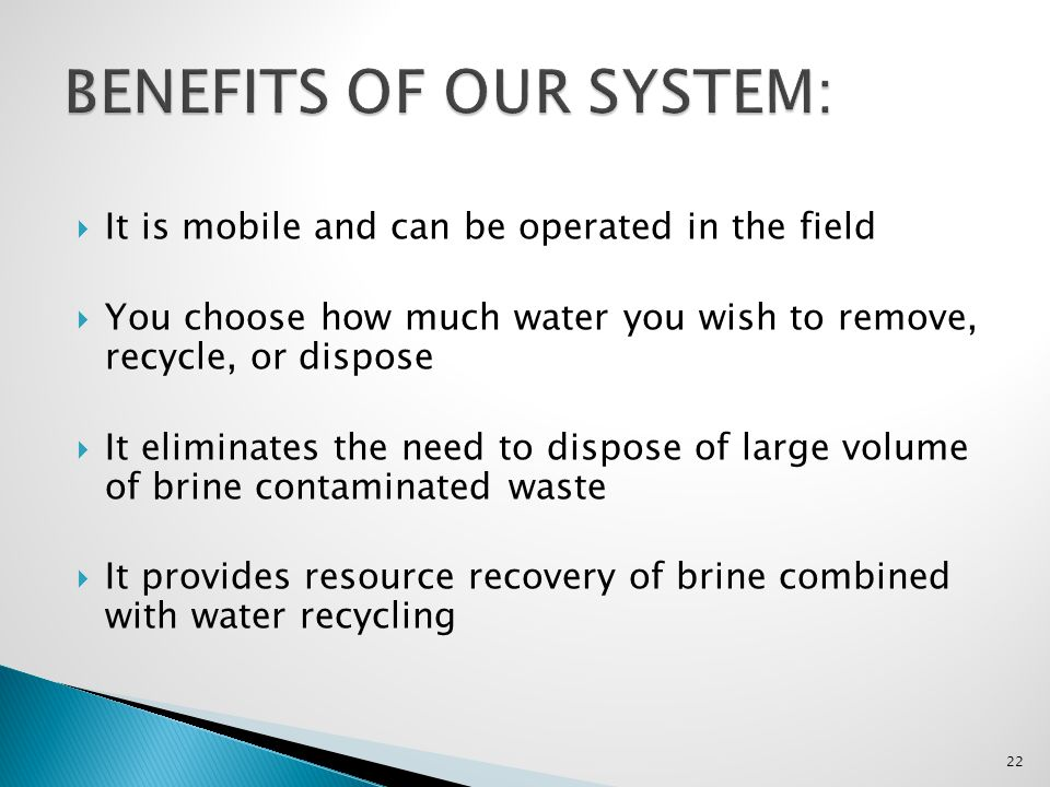 BENEFITS OF OUR SYSTEM: