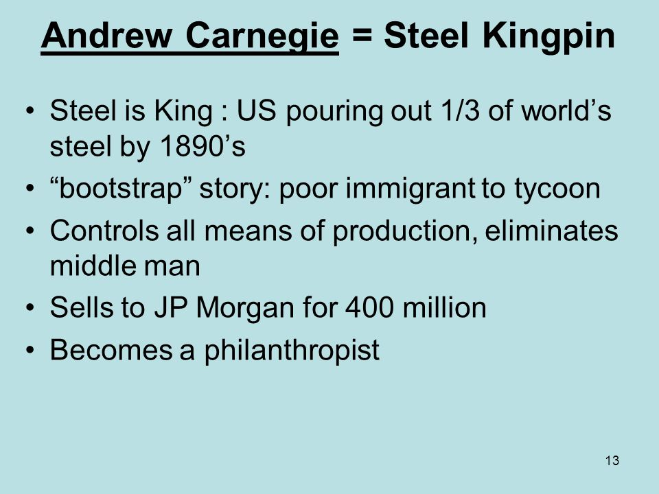 Andrew Carnegie = Steel Kingpin
