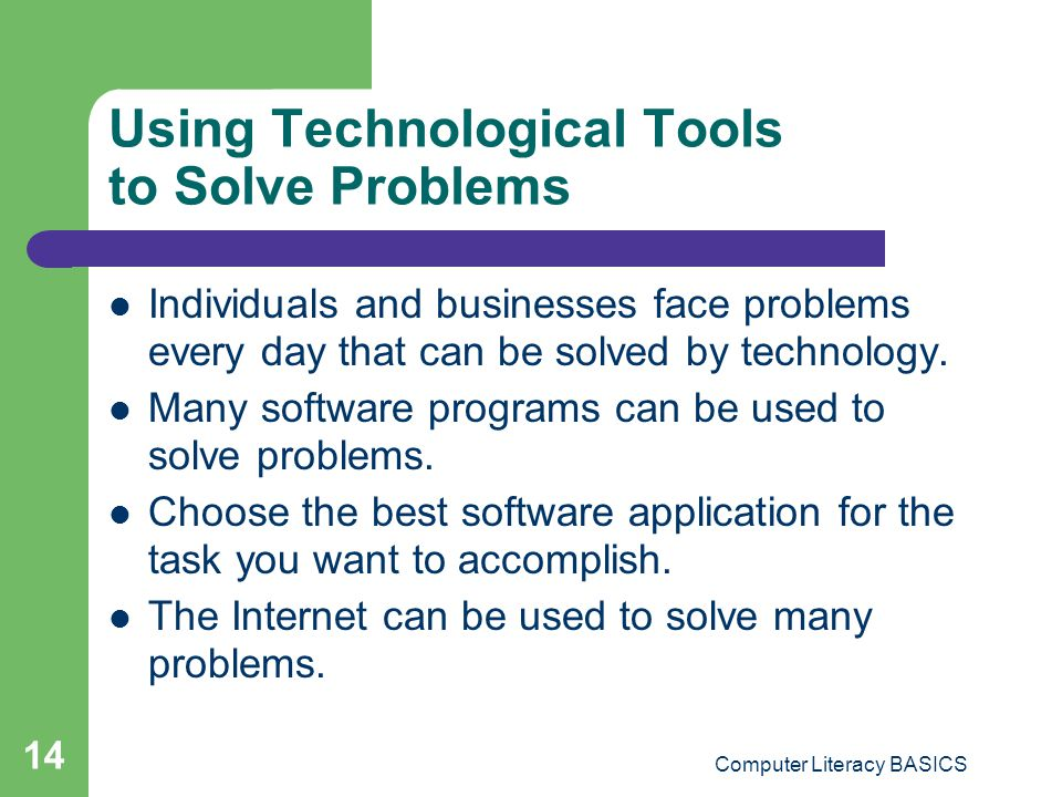 Using Technological Tools to Solve Problems