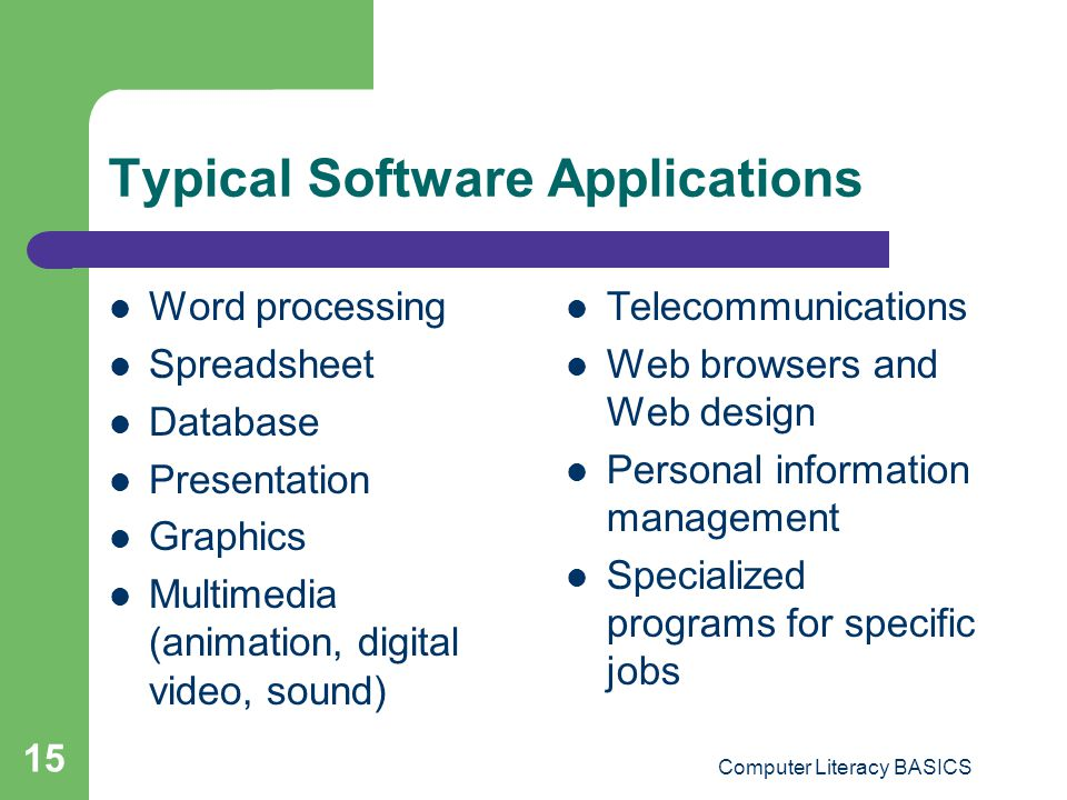Typical Software Applications