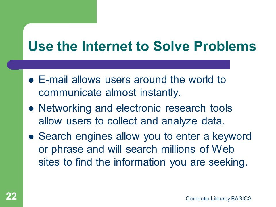 Use the Internet to Solve Problems