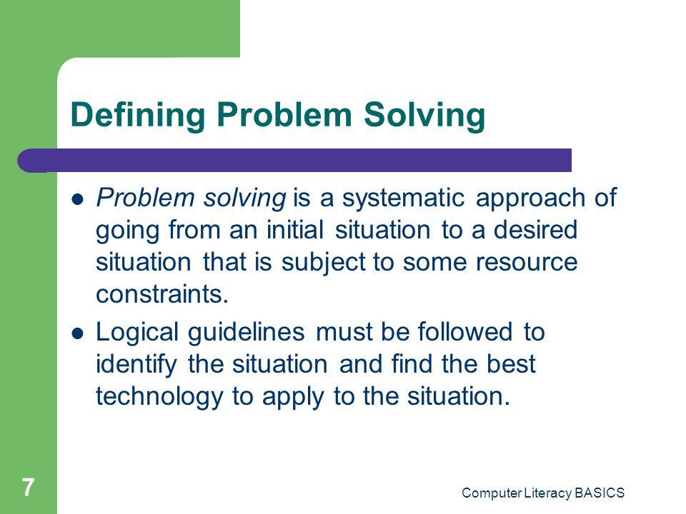 Defining Problem Solving