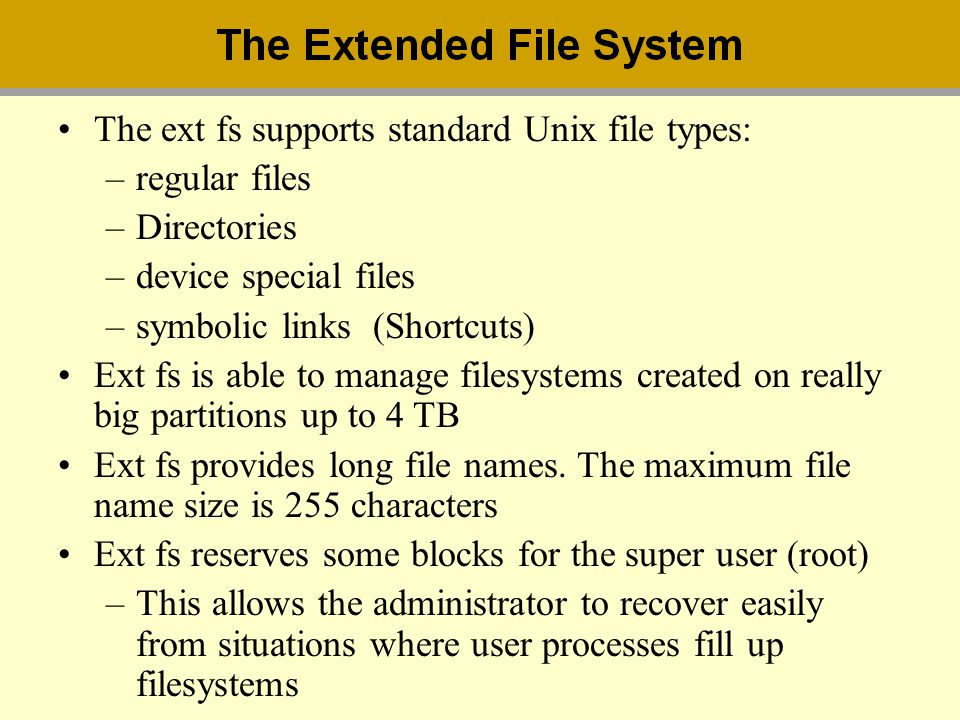 The ext fs supports standard Unix file types: