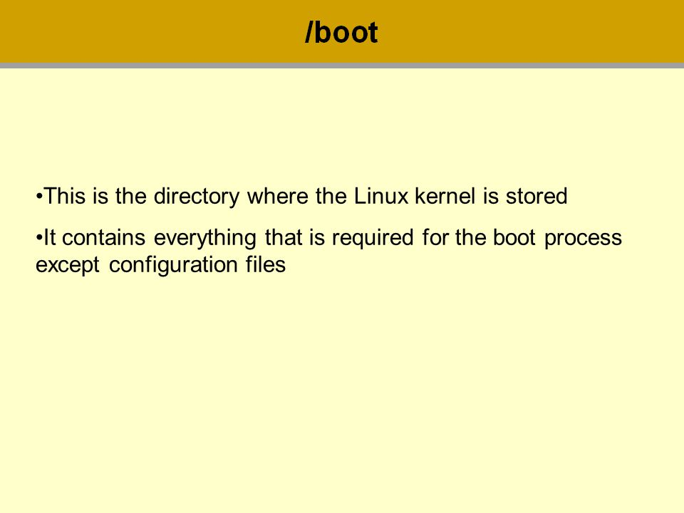 This is the directory where the Linux kernel is stored