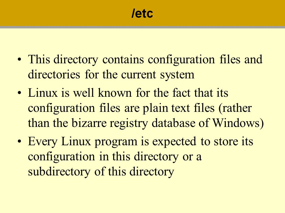 This directory contains configuration files and directories for the current system