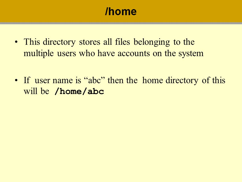 This directory stores all files belonging to the multiple users who have accounts on the system