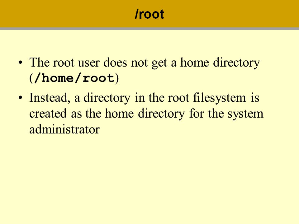 The root user does not get a home directory (/home/root)