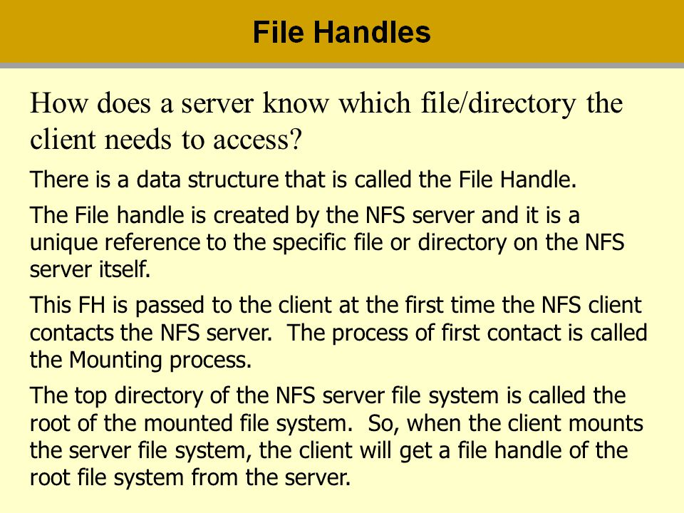How does a server know which file/directory the client needs to access