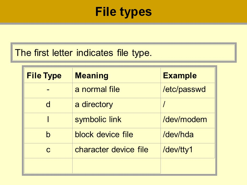 The first letter indicates file type.
