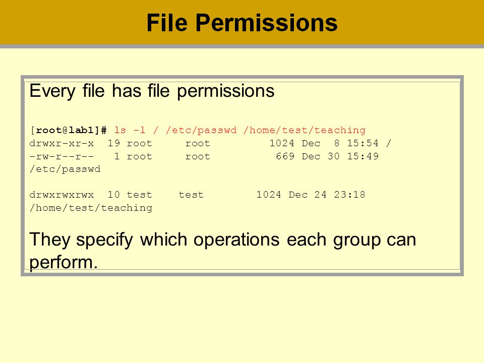 Every file has file permissions