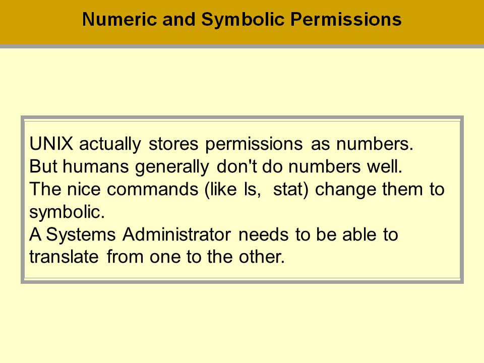 UNIX actually stores permissions as numbers.
