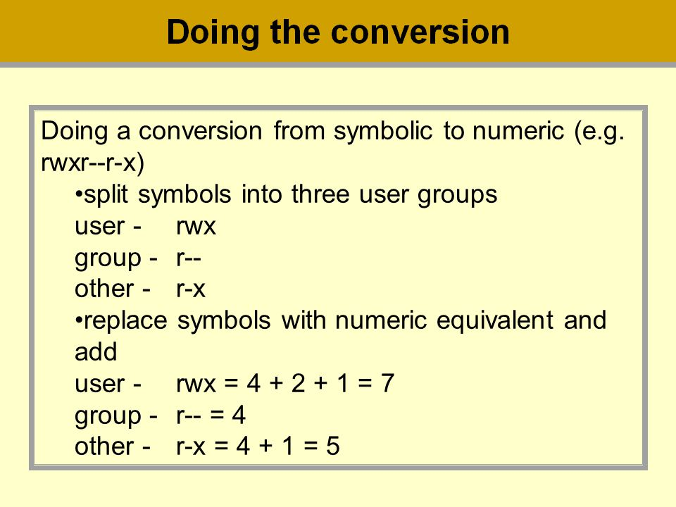 Doing a conversion from symbolic to numeric (e.g. rwxr--r-x)