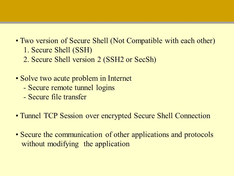Two version of Secure Shell (Not Compatible with each other)
