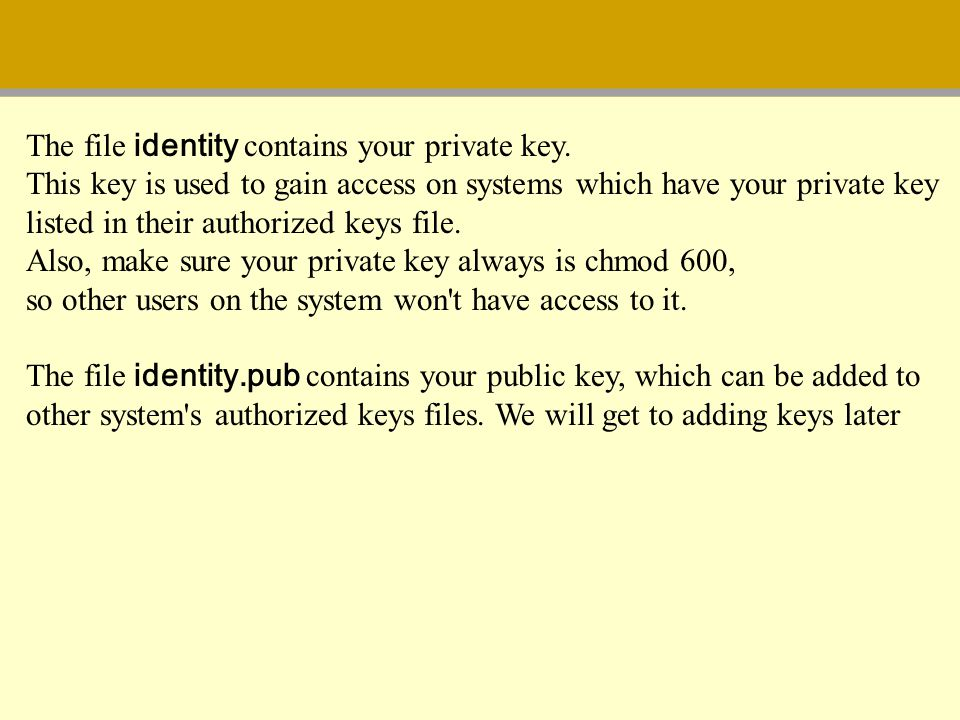 The file identity contains your private key.