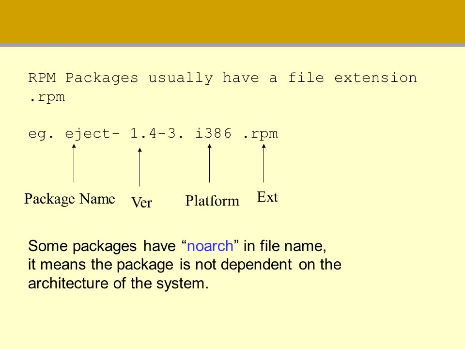 RPM Packages usually have a file extension