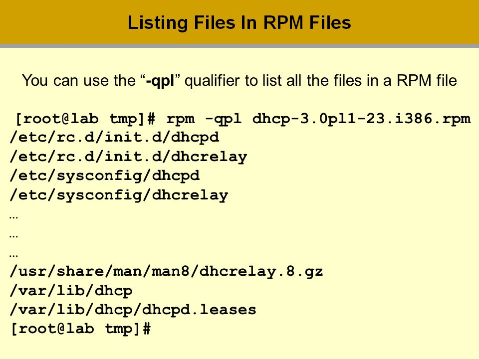 You can use the -qpl qualifier to list all the files in a RPM file