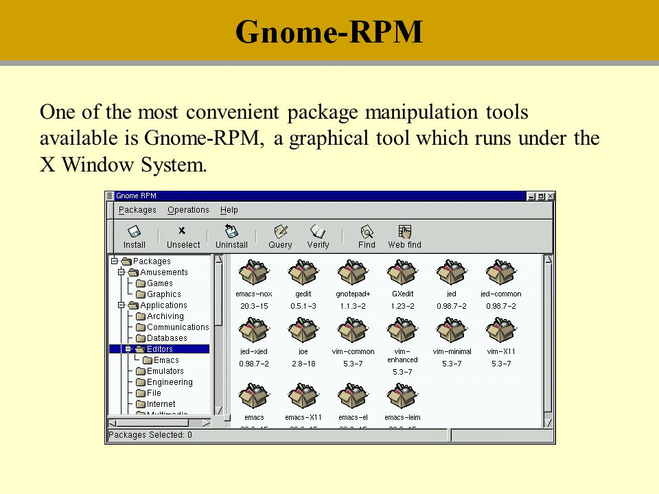 One of the most convenient package manipulation tools available is Gnome-RPM, a graphical tool which runs under the X Window System.