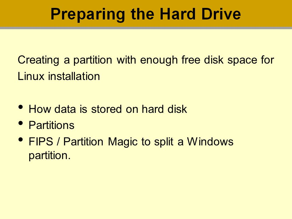 Creating a partition with enough free disk space for