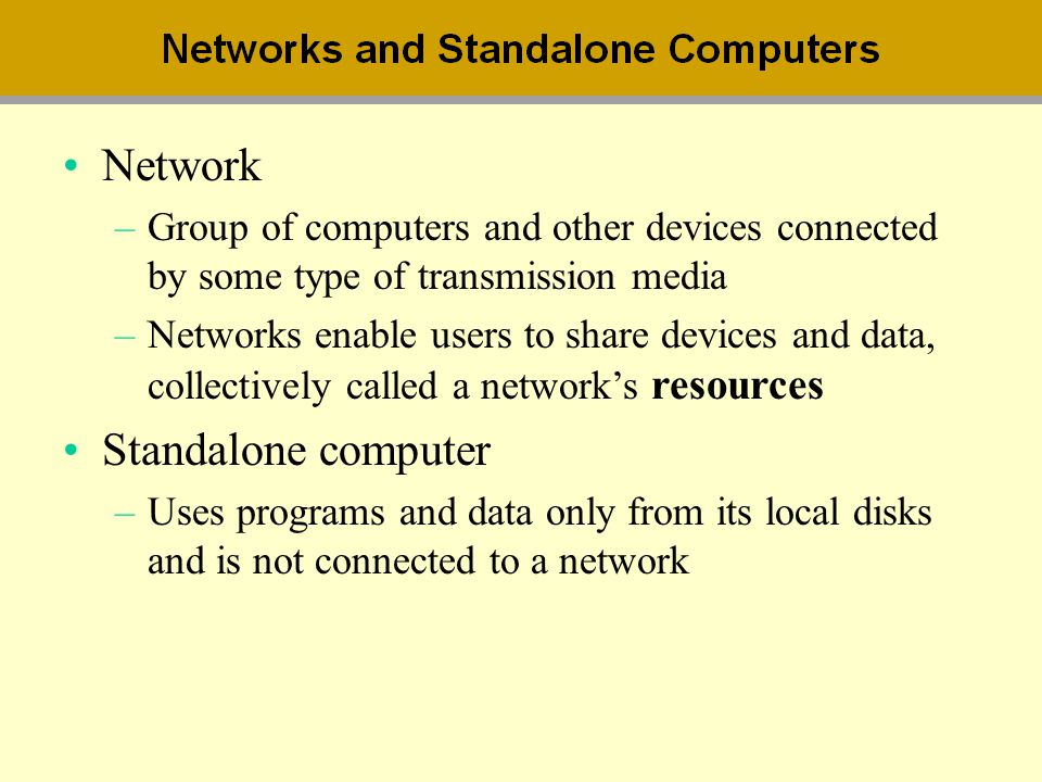 Network Standalone computer