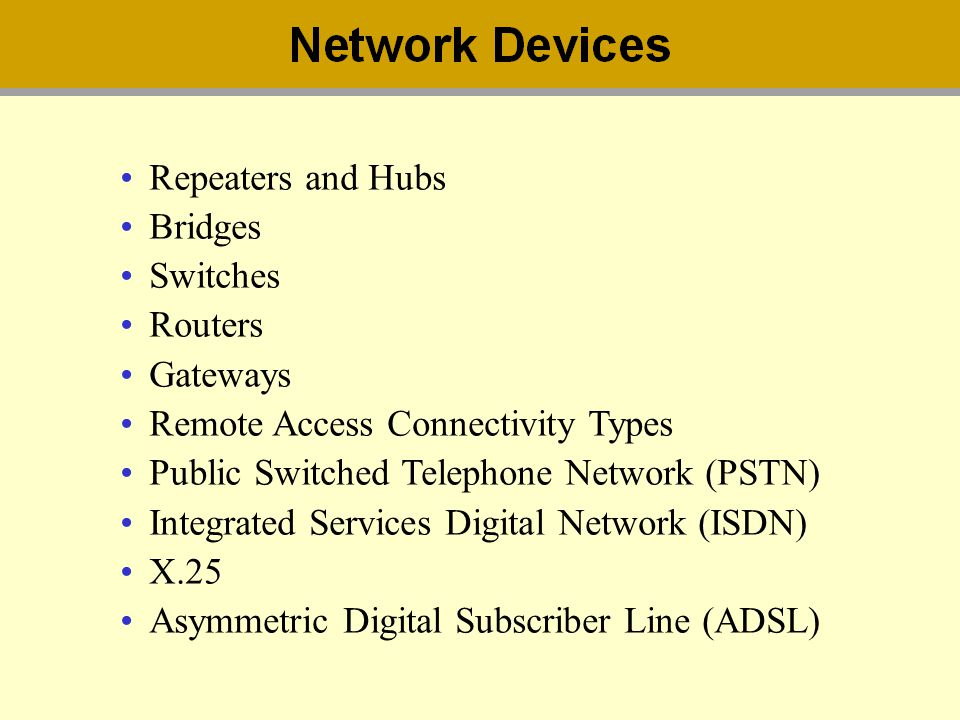 Repeaters and Hubs Bridges. Switches. Routers. Gateways. Remote Access Connectivity Types. Public Switched Telephone Network (PSTN)