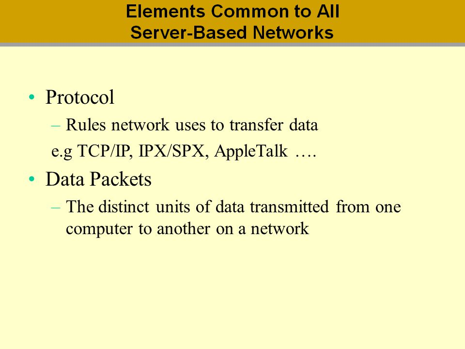 Protocol Data Packets Rules network uses to transfer data