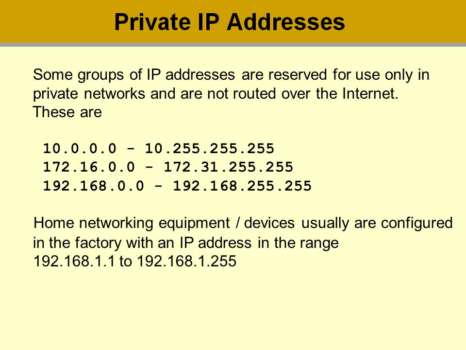Some groups of IP addresses are reserved for use only in