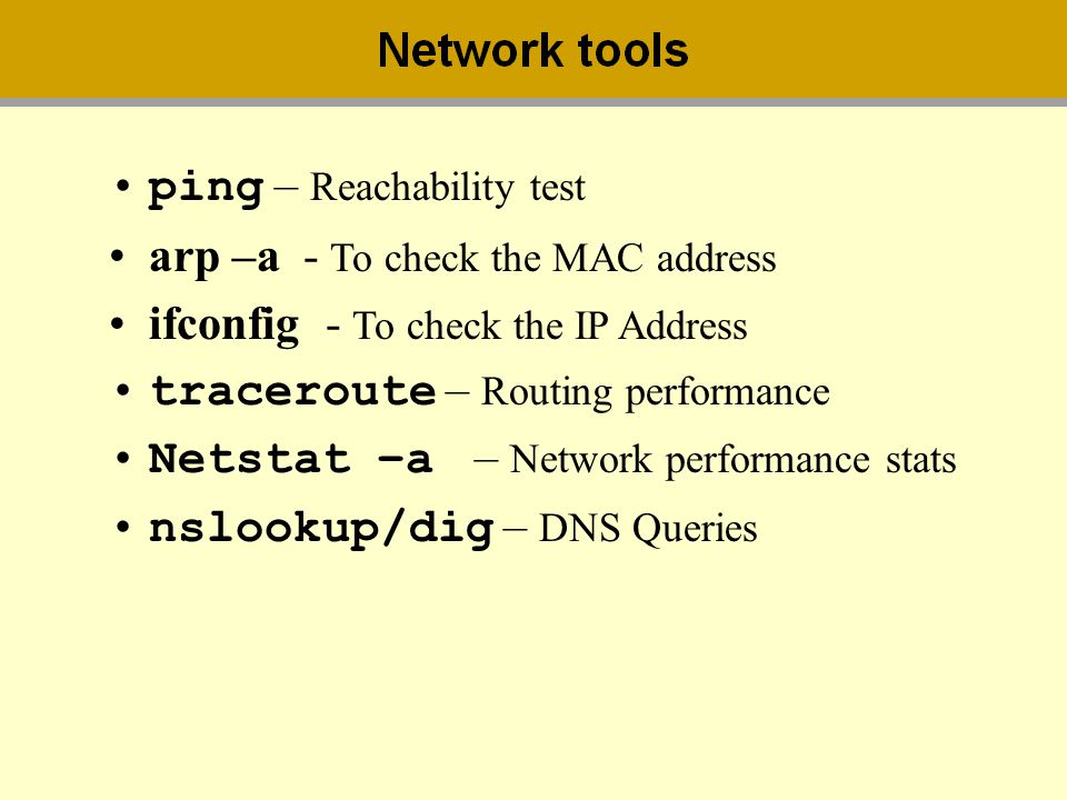 ping – Reachability test