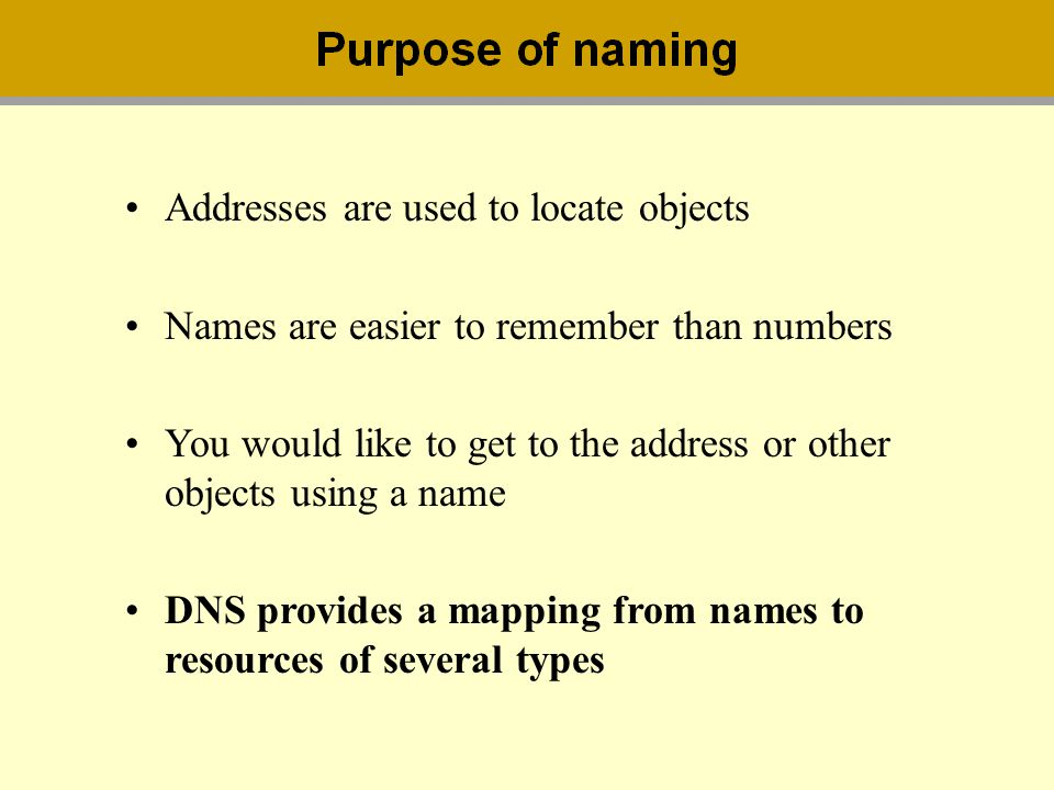 Addresses are used to locate objects