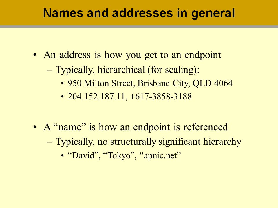 An address is how you get to an endpoint
