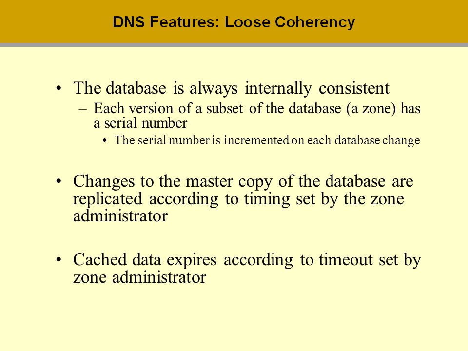 The database is always internally consistent