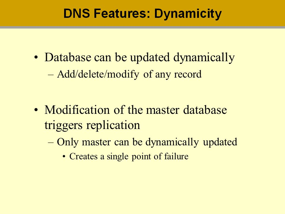 Database can be updated dynamically