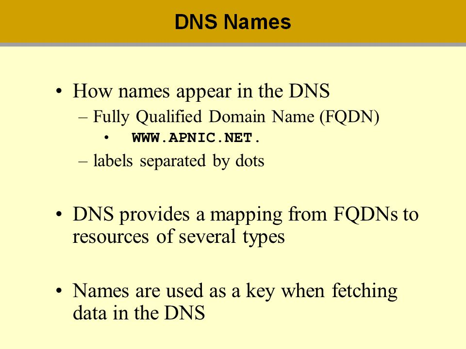 How names appear in the DNS