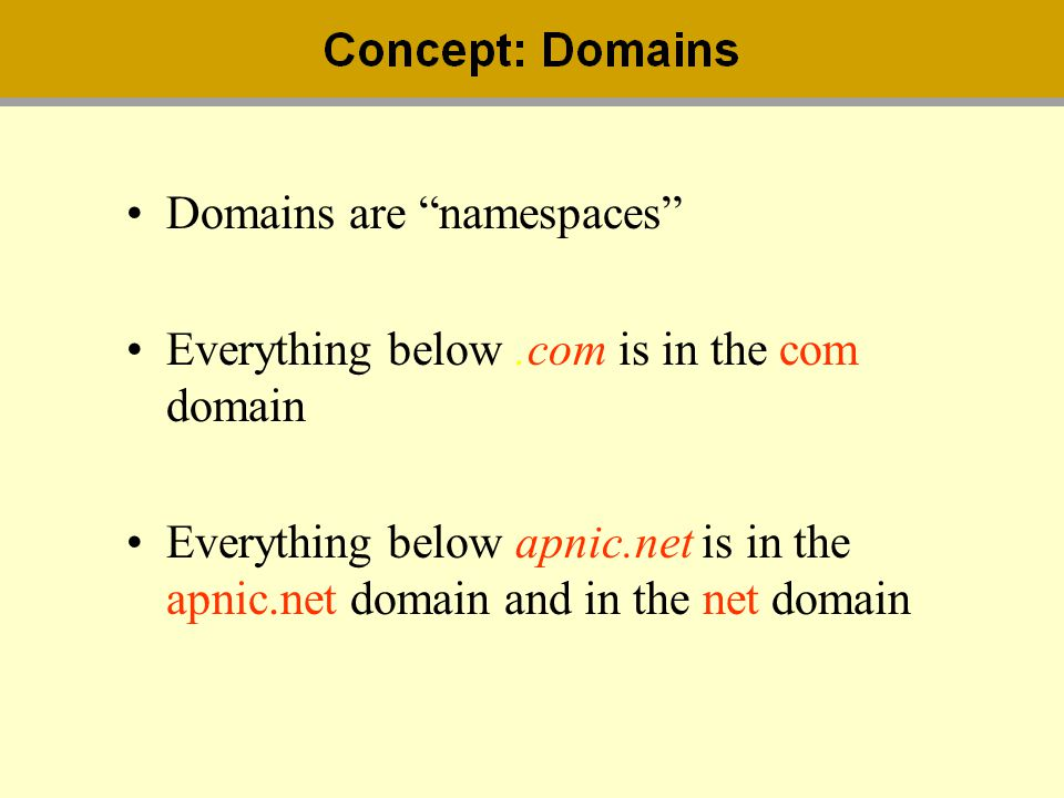 Domains are namespaces