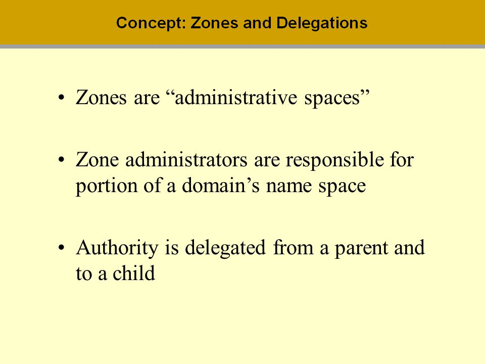 Zones are administrative spaces