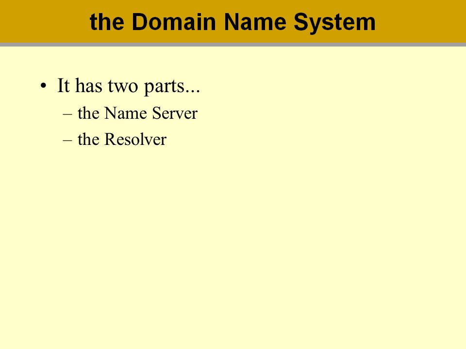 It has two parts... the Name Server the Resolver