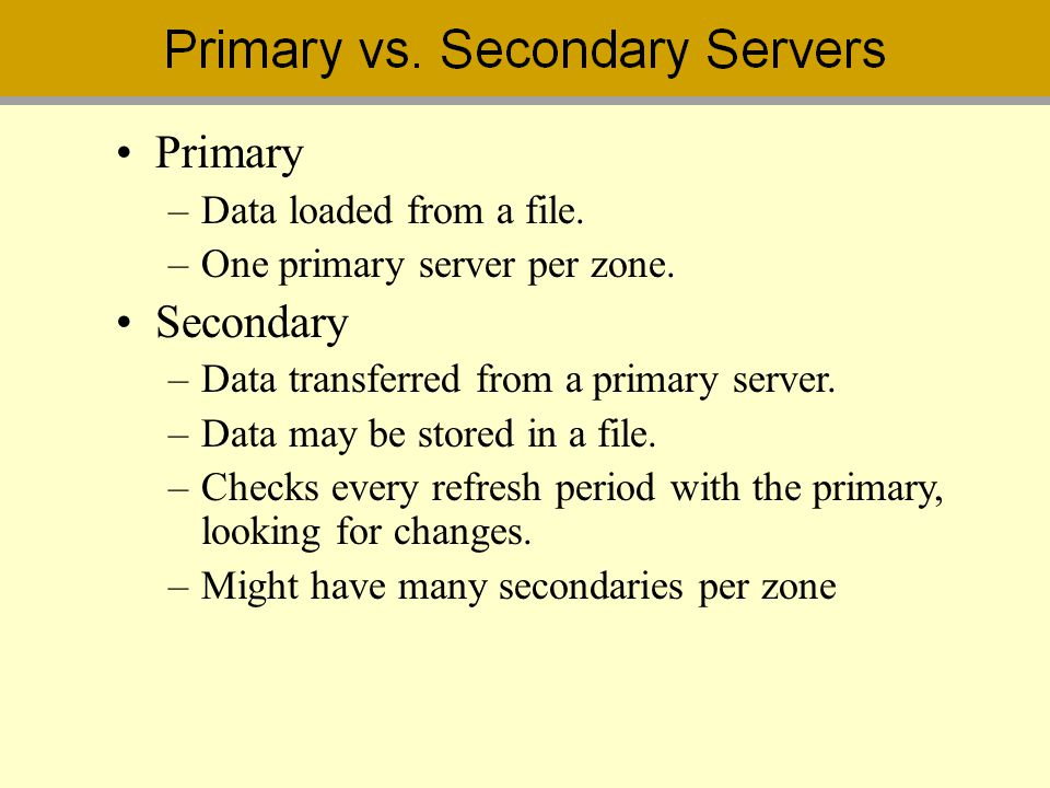 Primary Secondary Data loaded from a file.