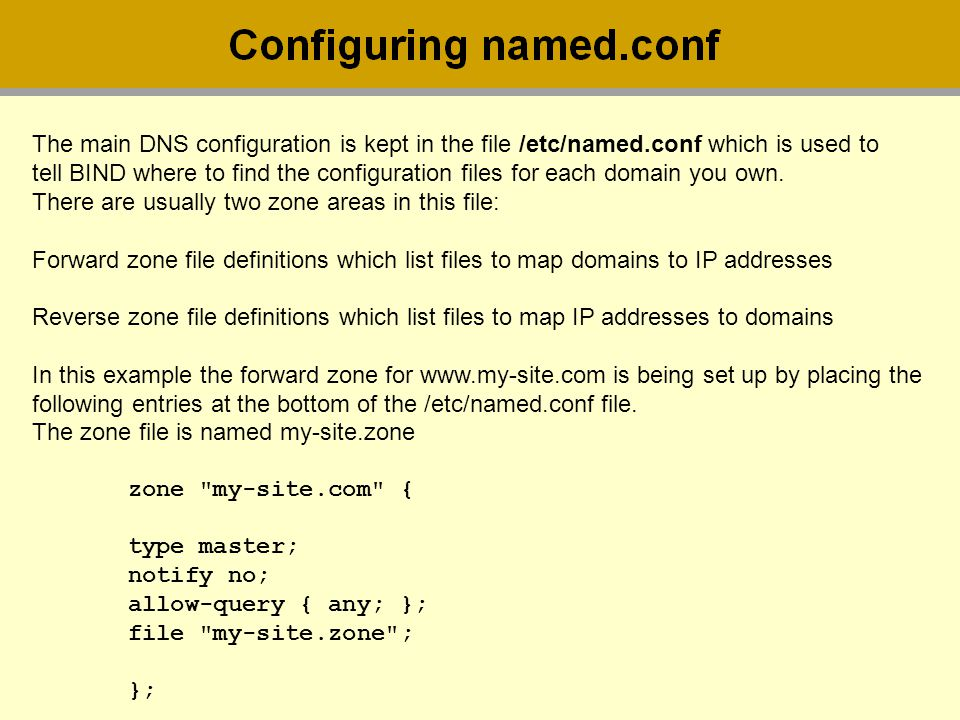 The main DNS configuration is kept in the file /etc/named
