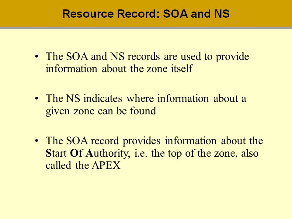 The SOA and NS records are used to provide information about the zone itself