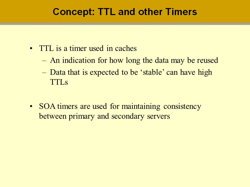 TTL is a timer used in caches