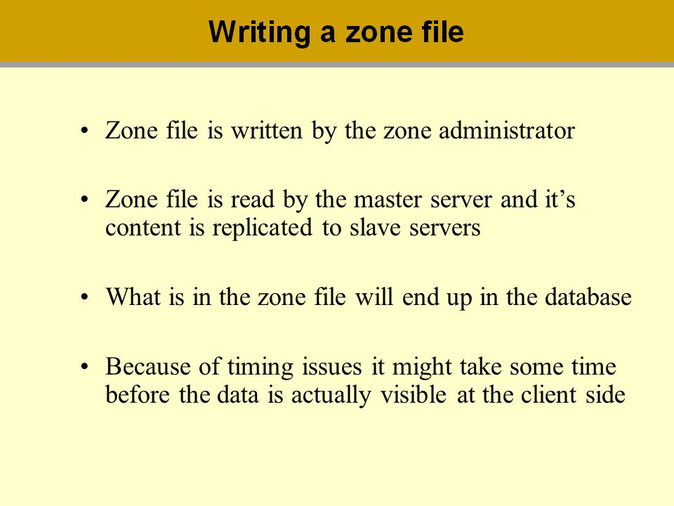 Zone file is written by the zone administrator