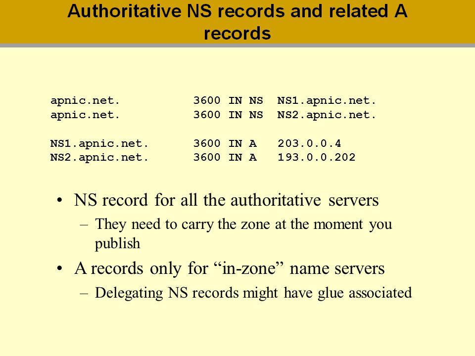 NS record for all the authoritative servers
