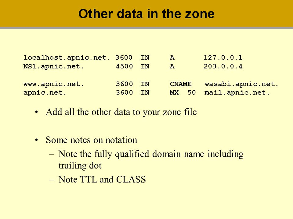 Add all the other data to your zone file Some notes on notation