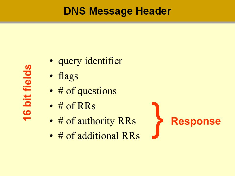 } query identifier flags # of questions 16 bit fields # of RRs