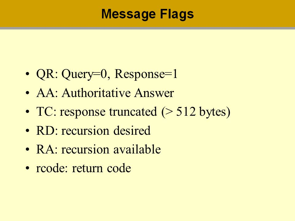 QR: Query=0, Response=1 AA: Authoritative Answer. TC: response truncated (> 512 bytes) RD: recursion desired.