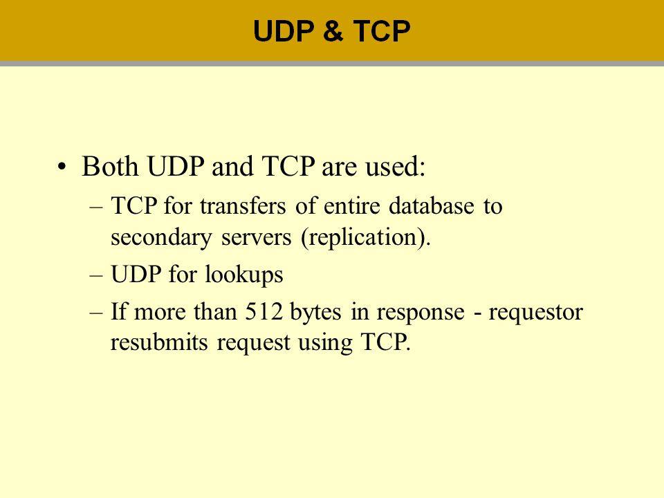 Both UDP and TCP are used: