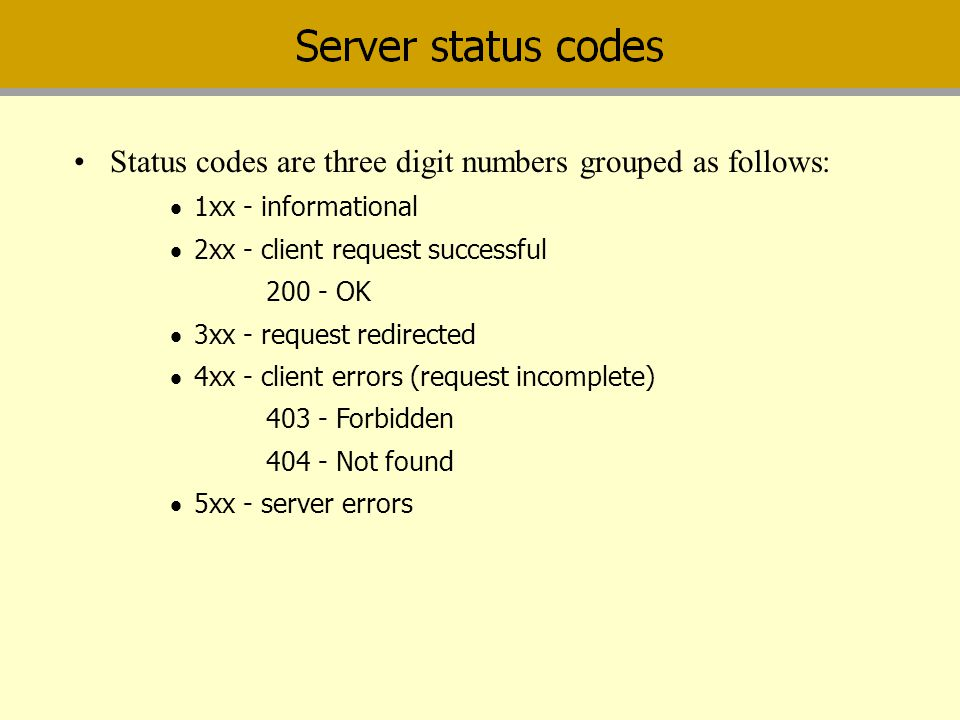 Status codes are three digit numbers grouped as follows: