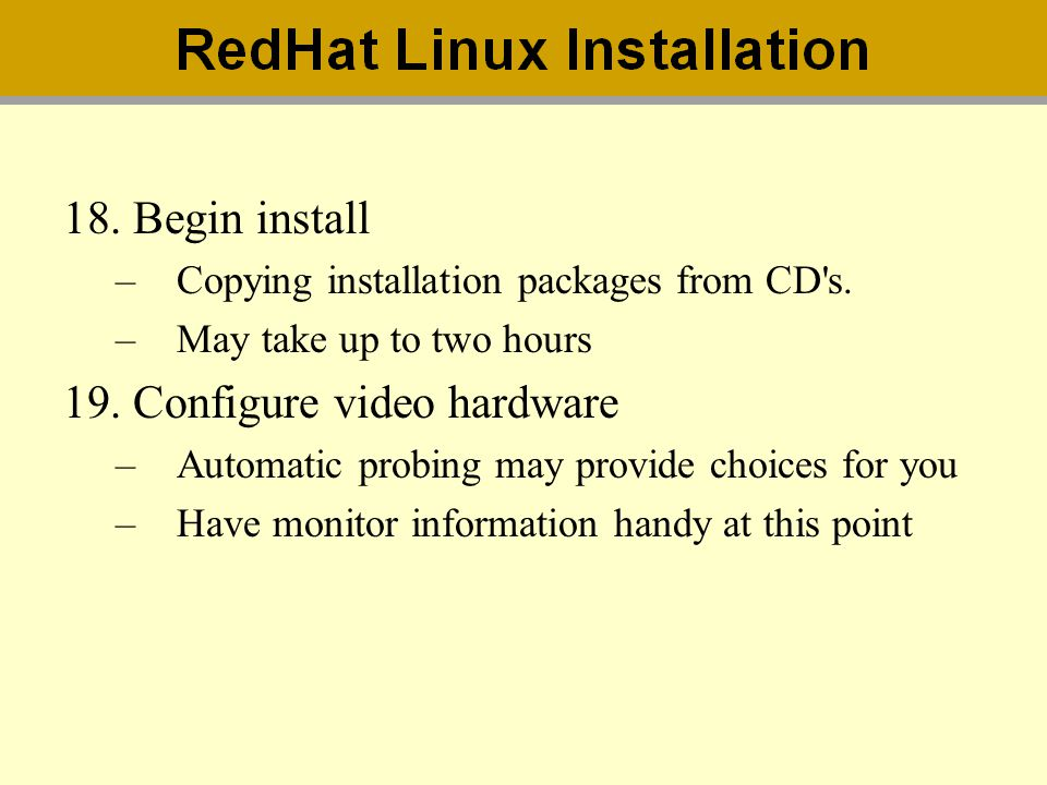 Configure video hardware