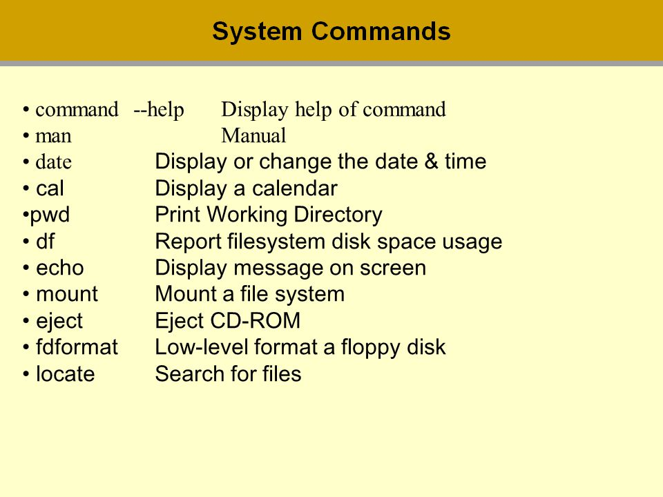 command --help Display help of command