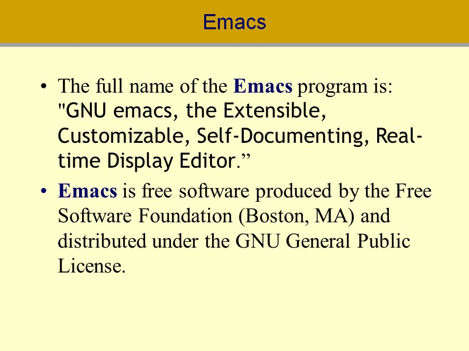 The full name of the Emacs program is: GNU emacs, the Extensible, Customizable, Self-Documenting, Real-time Display Editor.