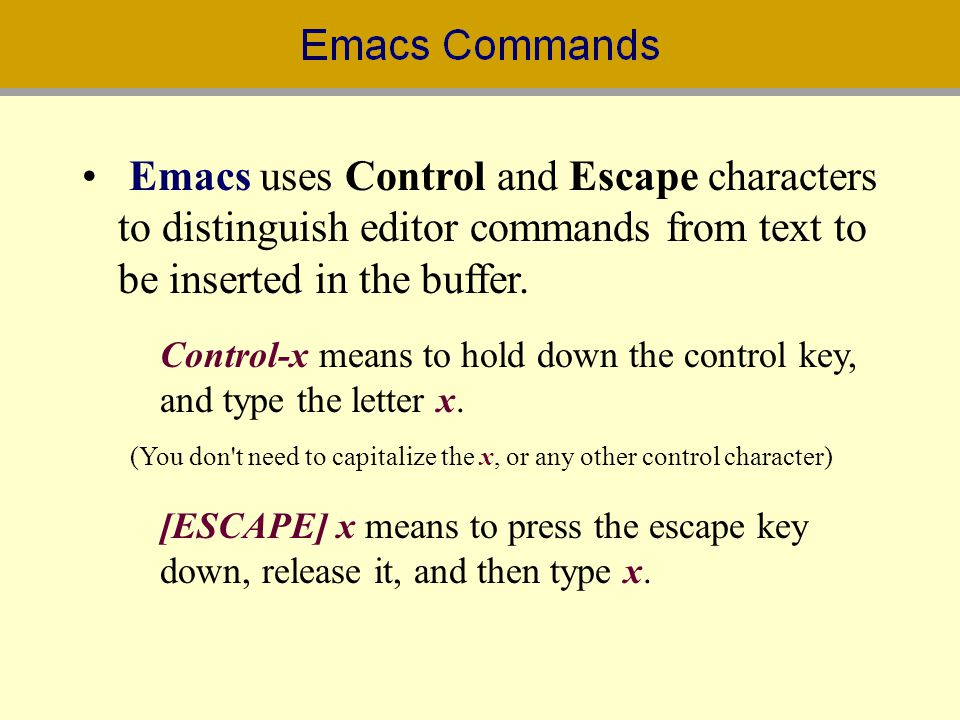 Emacs uses Control and Escape characters to distinguish editor commands from text to be inserted in the buffer.